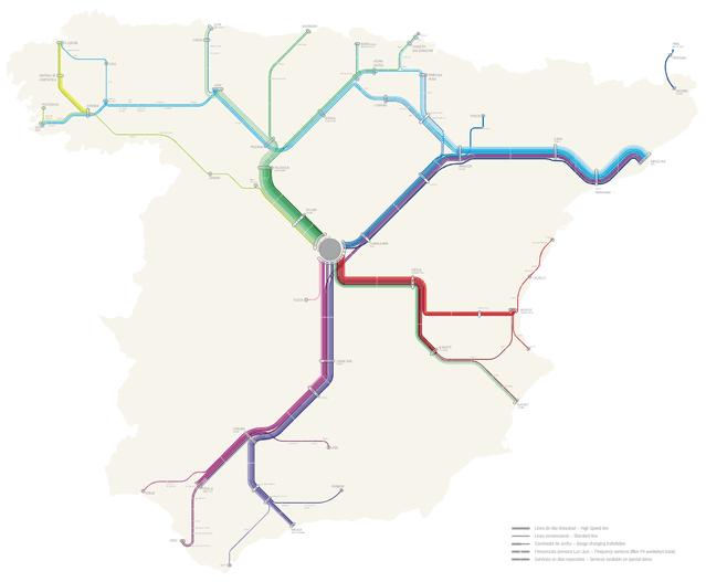Mapa del AVE - tren de alta velocidad Español