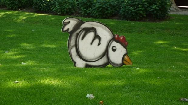 Una gallina en el parque Zrinjevac de Zagreb