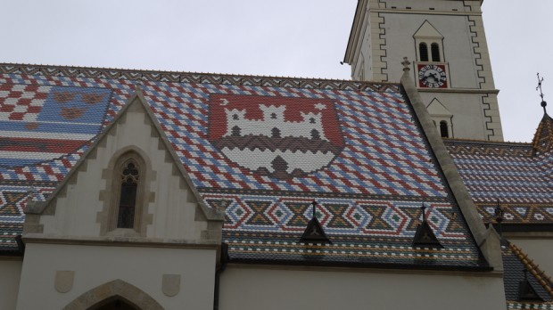 Detalle del techo de la iglesia de Sv. Marka o San Marcos en Zagreb II