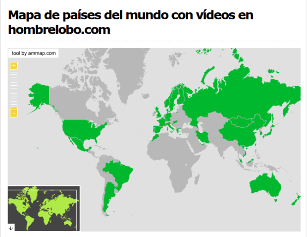 Mapa de países del mundo con vídeos de hombrelobo.com