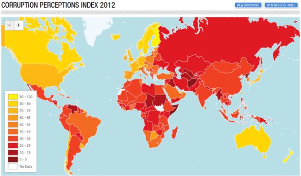 Los países del mundo ordenados por niveles de corrupción