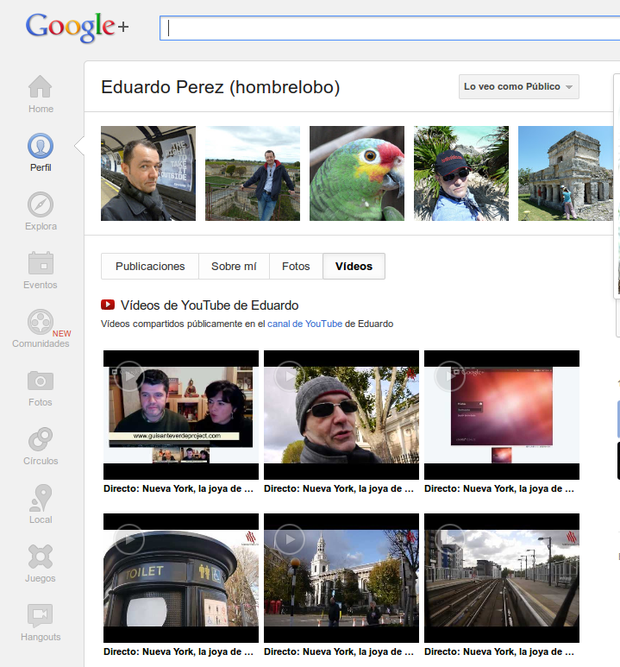 Vídeos de Youtube en G+