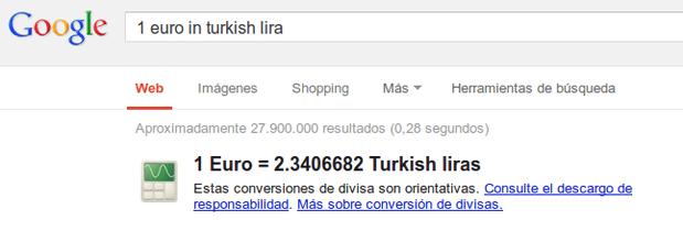 Conversor de monedas de Google