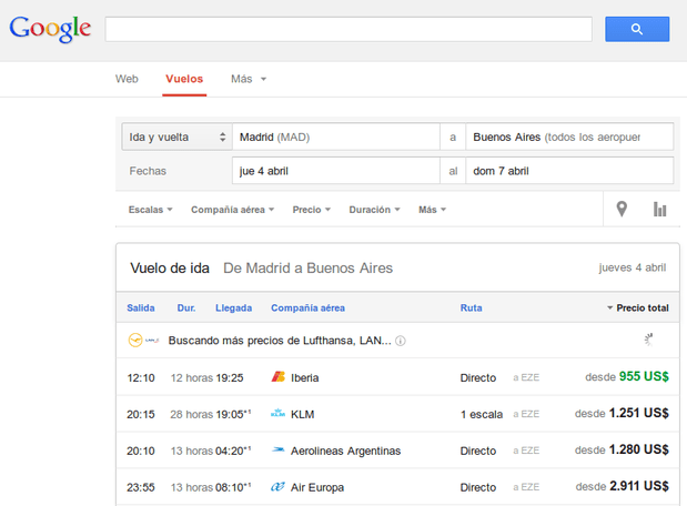 Los vuelos más baratos en Google