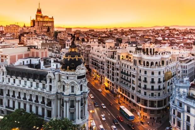 Vista aérea de la Gran Vía, Madrid