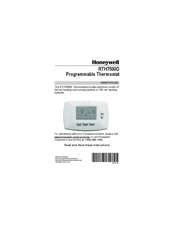 honeywell rth7500d manual pdf rh pandarestaurant us Honeywell Programmable Thermostat Owner Manual Rth7500d1031 Honeywell Programmable Thermostat Owner Manual TH3110D
