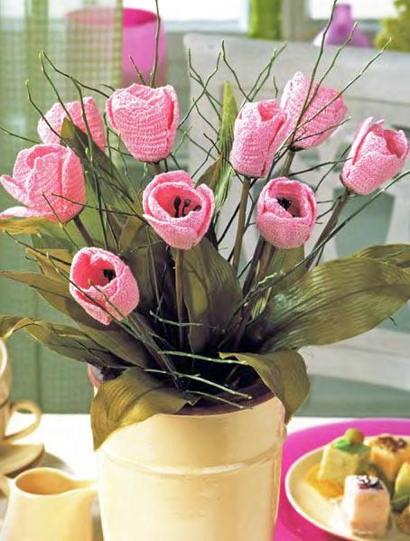 вязаные цветы тюльпаны