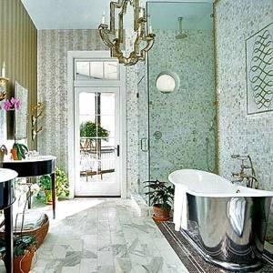 металлическая ванна хром оригинальный интерьер