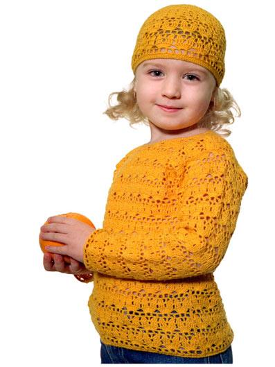 свитер пуловер и шапочка для девочки крючком