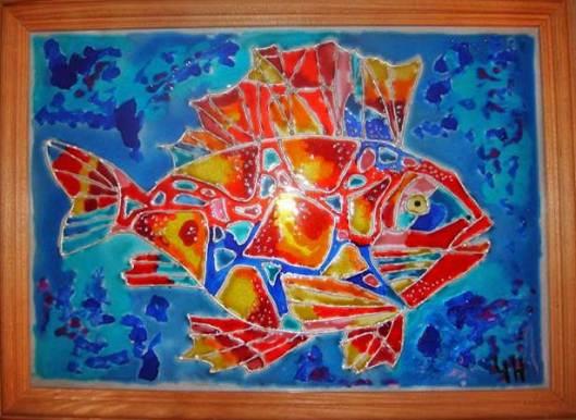 картина витражными красками рыба