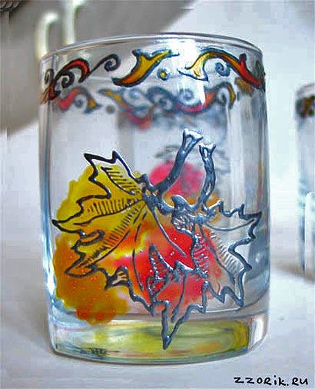 роспись стаканы витражными красками