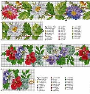 схема для вышивания цветы