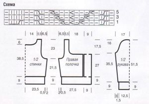 схема жакет спицами