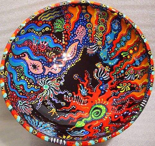 роспись тарелок акрилом - морская тематика