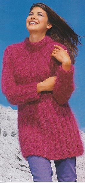 длинный пуловер из кос спицами