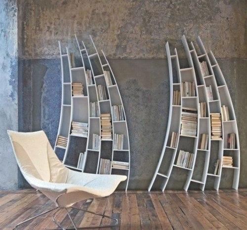 Необычная полка для книг - конус