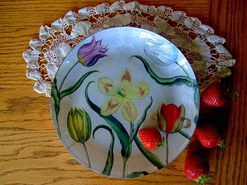 обратный декупаж тарелки