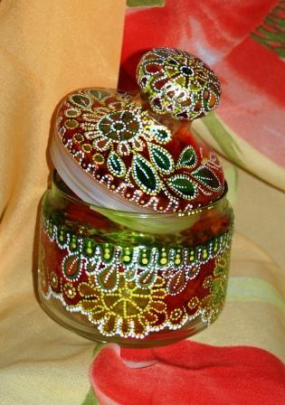 роспись по стеклу вазы