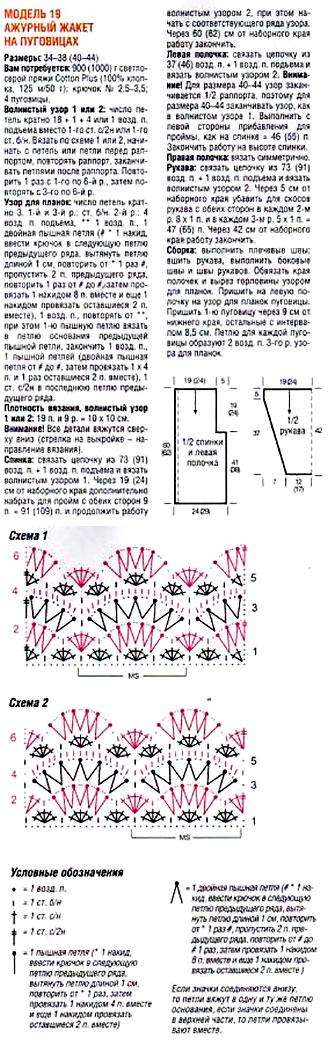 Белый жакет крючком - описание вязания