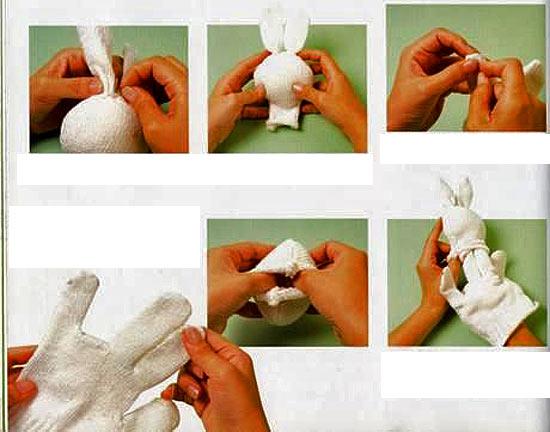 кукла из перчатки зайчик