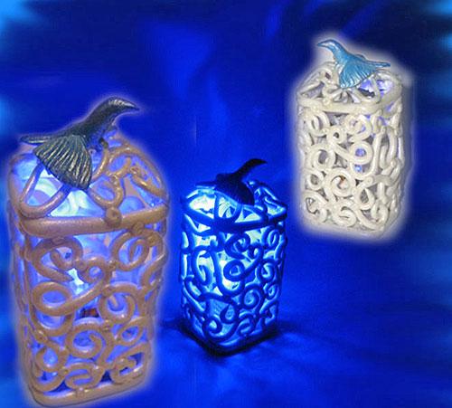 Сетчатые светильники из полимерной глины 4