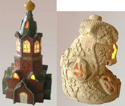Светильник Домик Эльфа и Храм из глины