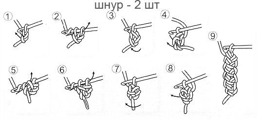 шнур крючком схема