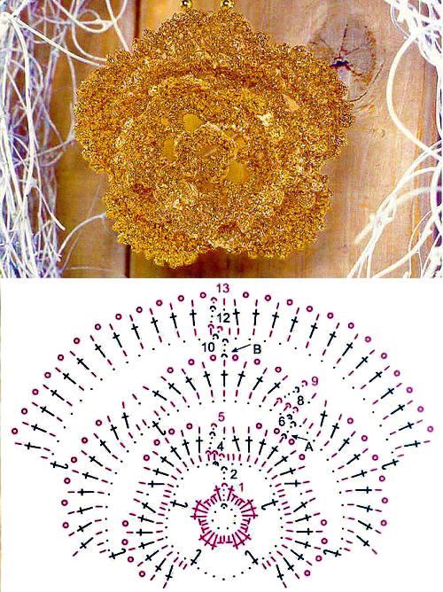 Цветок в виде броши - вязание крючком
