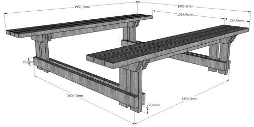 Размеры скамеек в сборе