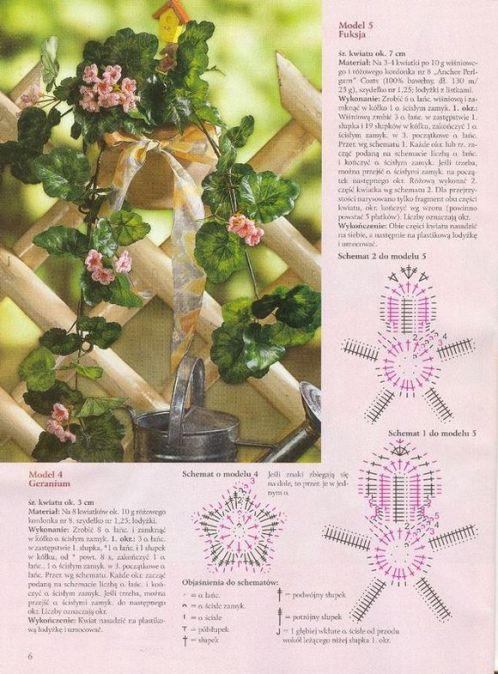 Схема вязания цветка фуксия крючком