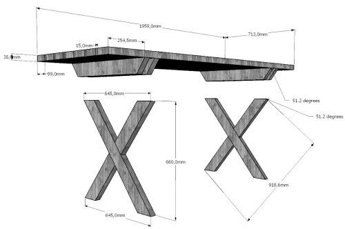 Размеры стола и крестовин ножек