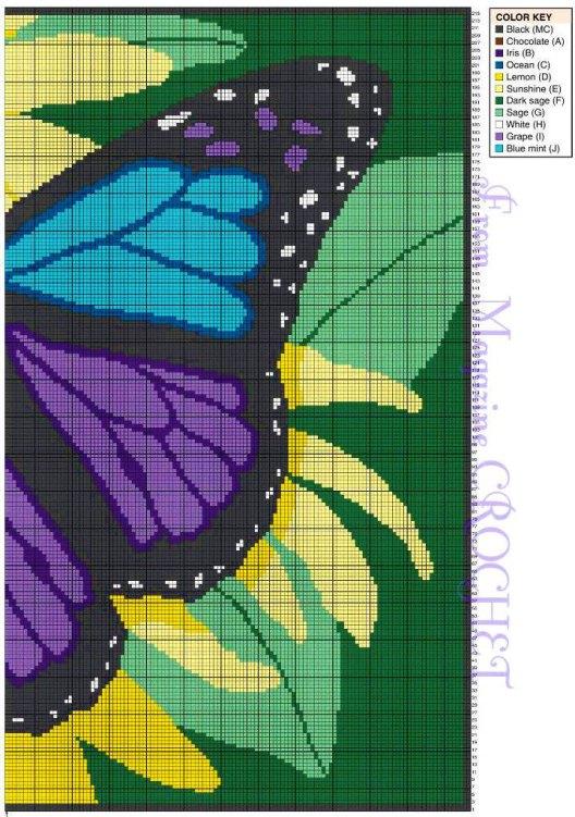Схема вязания крючком - плед с бабочкой