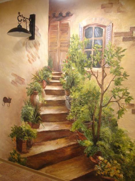 Объемная роспись на стене - лесенка и вход в дом