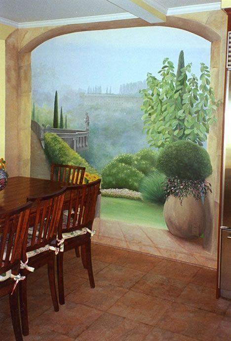 Объемная роспись на стене - пейзаж