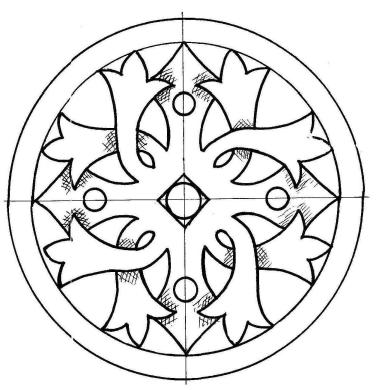 Рисунок для резьбы по дереву - круглый орнамент