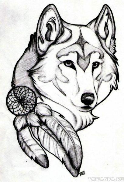 Резьба по дереву - рисунок волка