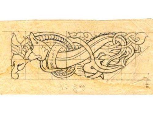 Рисунок дракона для резьбы по дереву