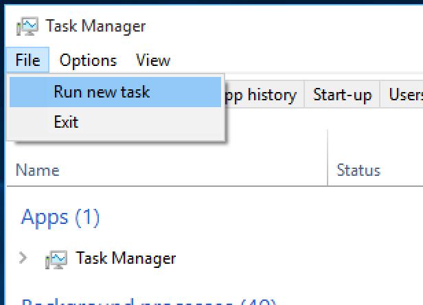 2. Run a new Windows task