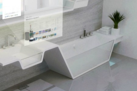 Robot cleaners and mirrors that check your health  Discover how your     Bathroom scales could be replaced entirely by floor tiles or a high tech  rug to keep track of your weight  while other tiles may act as flat panel  speakers