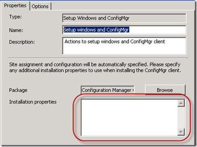 Setup Windows and ConfigMgr Task