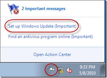 Windows Action Center - Default
