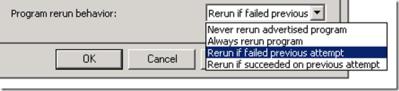 The Program Rerun Behavior Option