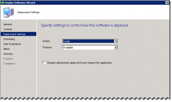 Deployment Settings Page of the Deploy Software Wizard