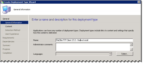 General Information Page of the Create Deployment Type Wizard