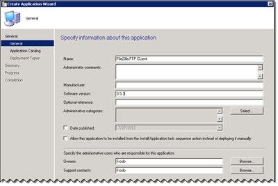 General Page of the Create Application Wizard
