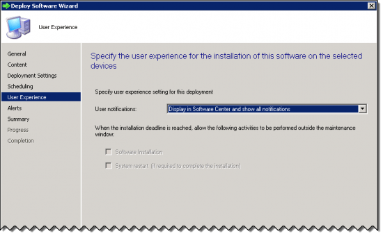 User Experience Page of the Deploy Software Wizard