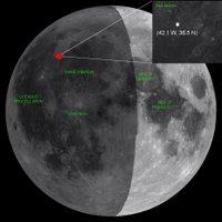 plaats van inslag van meteoriet op de Maan
