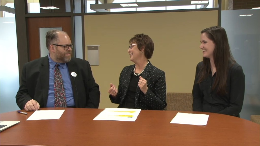 A photo from the Board Preview Live discussion between Don Mayhew, LPS Director of Elementary Education Cindy Schwaninger, and Randolph Kindergarten teacher MacKenzie Sheaff