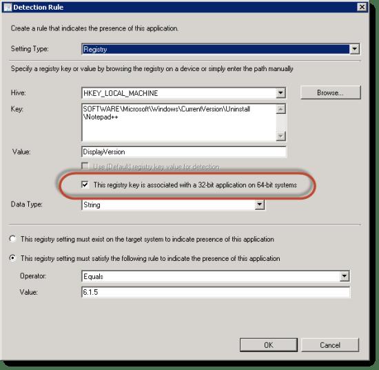 Registry Detection Rule in a Deployment Type for 32-bit application installer