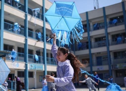 طالبة في إحدى مدارس الأونروا بقطاع غزة